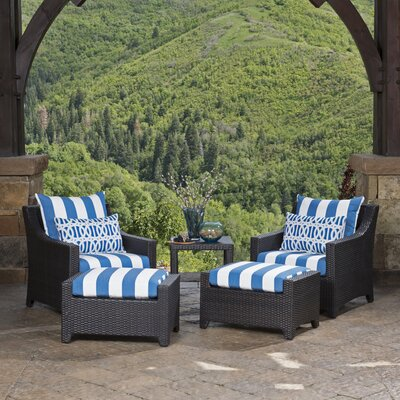 Northridge 5 Piece Deep Seating Group with Cushions Fabric: Blue