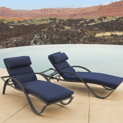 Northridge Chaise Lounge with Cushion Fabric: Navy