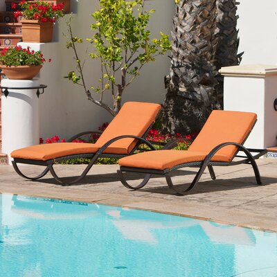 Northridge Chaise Lounge with Cushion Fabric: Tika Orange