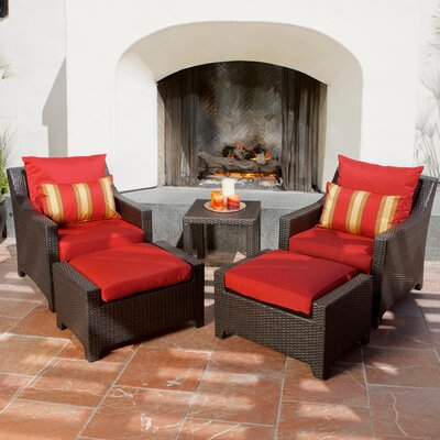 Northridge 5 Piece Deep Seating Group with Cushions Fabric: Sunset Red