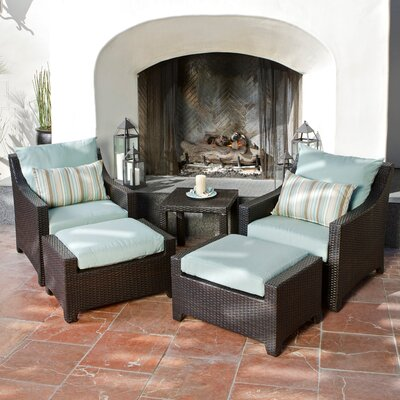 Northridge 5 Piece Deep Seating Group with Cushions Fabric: Bliss Blue
