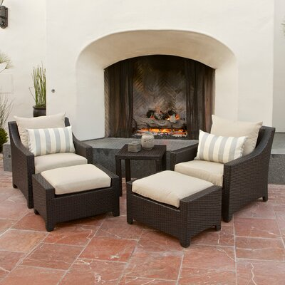 Northridge 5 Piece Deep Seating Group with Cushions Fabric: Slate