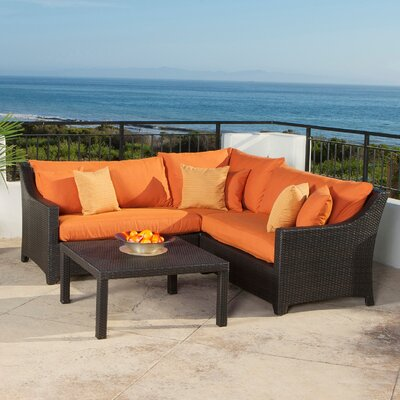 Northridge 4 Piece Sectional Seating Group with Cushions Fabric: Tika Orange
