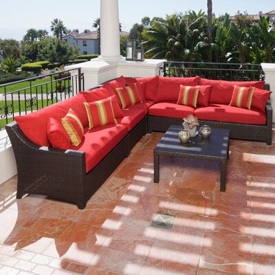 Northridge 6 Piece Sectional Seating Group with Cushions Fabric: Cantina Red THRE9958 37724236