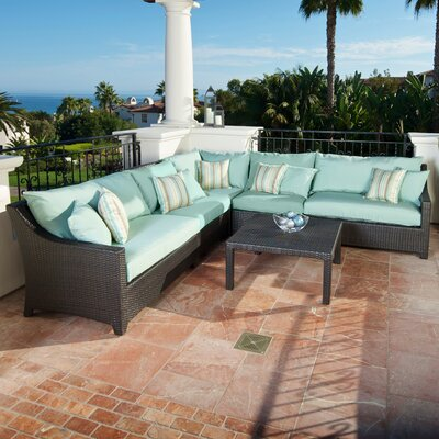 Northridge 6 Piece Sectional Seating Group with Cushions Fabric: Bliss Blue THRE9958 37724237