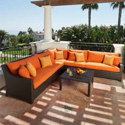 Northridge 6 Piece Sectional Seating Group with Cushions Fabric: Tika Orange