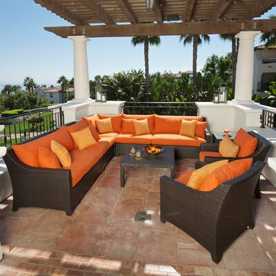 Northridge 9 Piece Sectional Seating Group with Cushions Fabric: Tika Orange