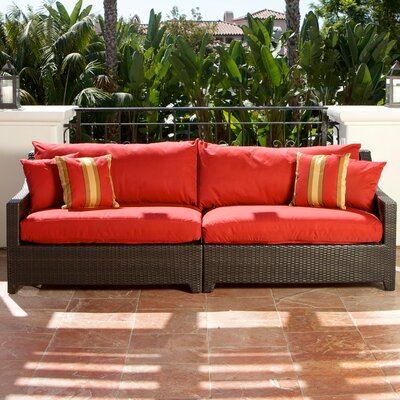 Northridge Patio 2 Piece Loveseat Fabric: Sunset Red