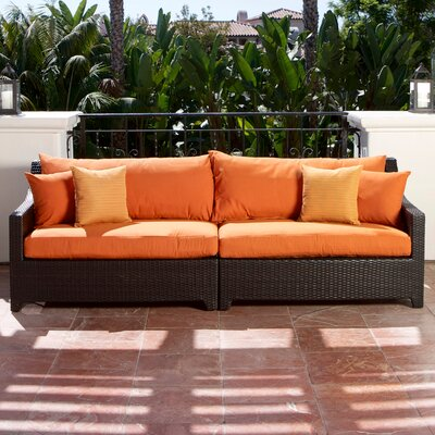 Northridge Patio 2 Piece Loveseat Fabric: Tika Orange