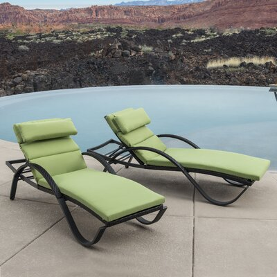 Northridge Chaise Lounge with Cushion Fabric: Gingko Green