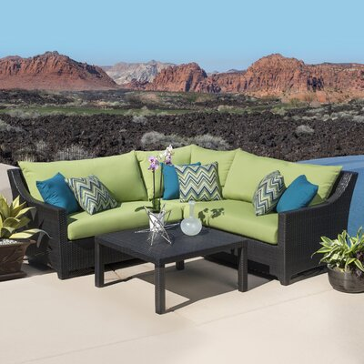 Northridge 4 Piece Sectional Seating Group with Cushions Fabric: Gingko Green