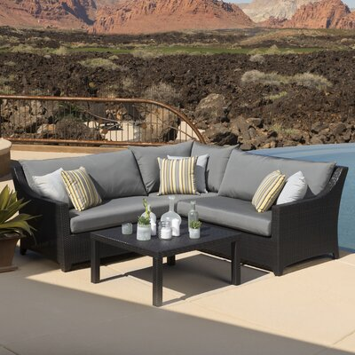 Northridge 4 Piece Sectional Seating Group with Cushions Fabric: Charcoal Grey