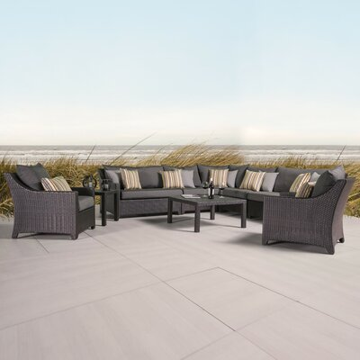 Northridge 9 Piece Sectional Seating Group with Cushions Fabric: Charcoal Grey