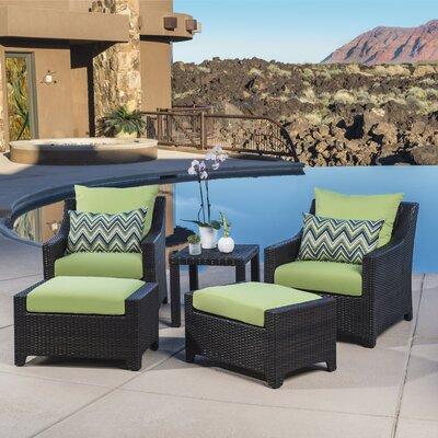 Northridge 5 Piece Deep Seating Group with Cushions Fabric: Gingko Green