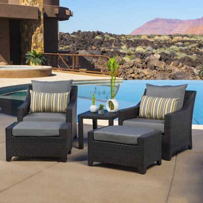 Northridge 5 Piece Deep Seating Group with Cushions Fabric: Charcoal Gray