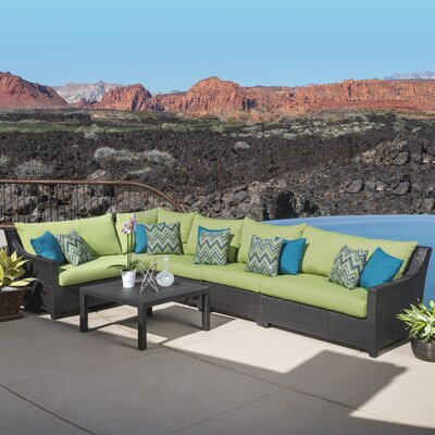 Northridge 6 Piece Sectional Seating Group with Cushions Fabric: Gingko Green
