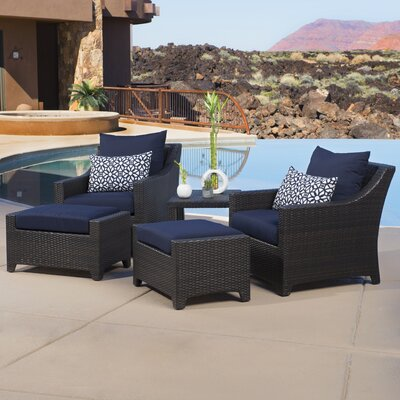 Northridge 5 Piece Deep Seating Group with Cushions Fabric: Navy