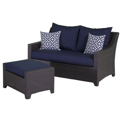 Northridge Loveseat and Ottoman with Cushions Fabric: Navy