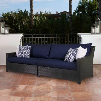Three Posts Northridge Patio Sofa with Cushions Fabric: Navy