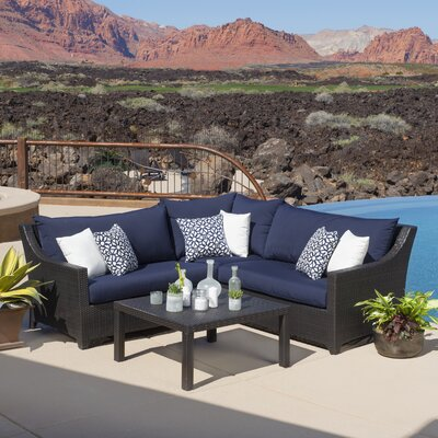 Northridge 4 Piece Sectional Seating Group with Cushions Fabric: Navy
