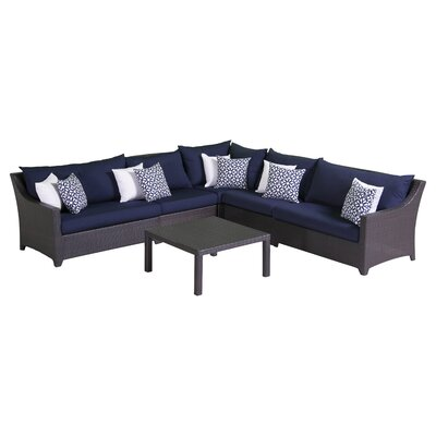 Northridge 6 Piece Sectional Seating Group with Cushions Fabric: Navy