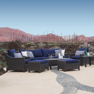Northridge 8 Piece Deep Seating Group with Cushions Fabric: Navy