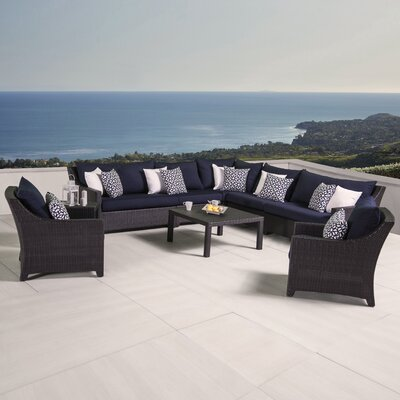 Northridge 9 Piece Sectional Seating Group with Cushions Fabric: Navy