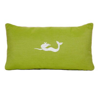 Embroidered Sunbrella Fabric Indoor/Outdoor Lumbar Pillow Color: Parrot Green