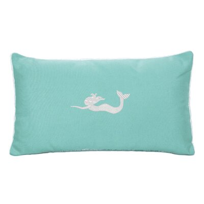 Embroidered Sunbrella Fabric Indoor/Outdoor Lumbar Pillow Color: Coral
