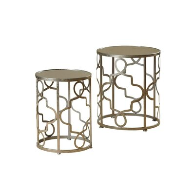 Witney 2 Piece Nesting Table Set Finish: Silver Leaf