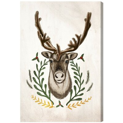Three Posts Velvet Antlers Painting Print on Wrapped Canvas