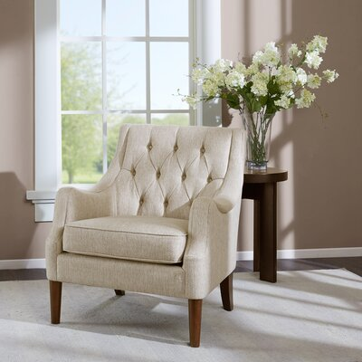 Rogersville Button Tufted Arm chair Upholstery: Cream