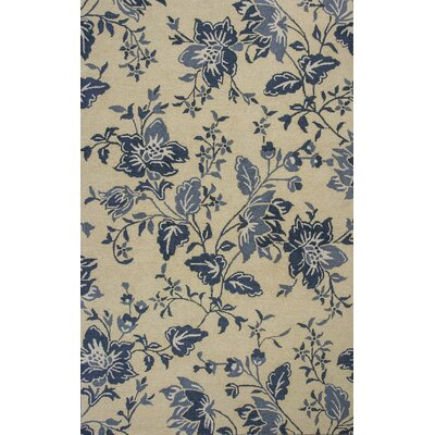 Tuscarora Hand-Hooked Cream/Blue Area Rug Rug Size: Rectangle 8 x 10