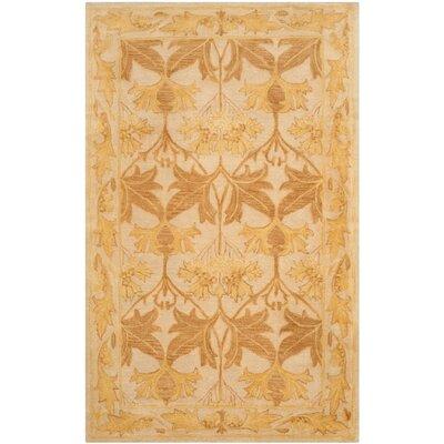 Ashville  Hand-Tufted Beige / Gold Area Rug Rug Size: 2' x 3'