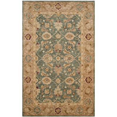Ashville Hand-Tufted Teal Blue / Taupe Area Rug Rug Size: 3' x 5'