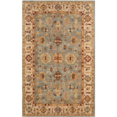 Ashville Hand-Tufted Blue / Ivory Area Rug Rug Size: Rectangle 76 x 96
