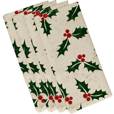 Allover Holly Napkin Color: Cream