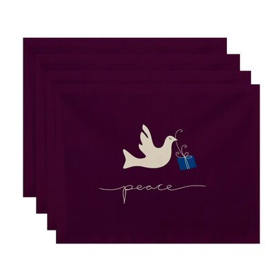 Holiday Peace Dove Animal Print Placemat Color: Purple