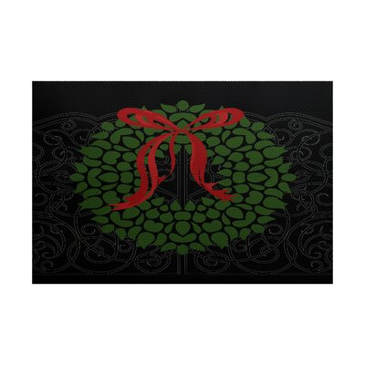 Wreath Black Indoor/Outdoor Holiday Area Rug Rug Size: Rectangle 3 x 5