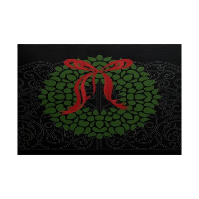Wreath Black Indoor/Outdoor Holiday Area Rug Rug Size: 3 x 5