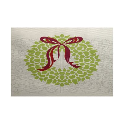 Christmass Wreath Green Indoor/Outdoor Area Rug Rug Size: 4 x 6