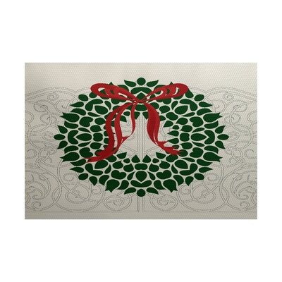 Christmass Wreath Green Indoor/Outdoor Area Rug Rug Size: 2 x 3