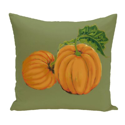 Greenmont Pumpkin Patch Holiday Outdoor Throw Pillow Color: Green