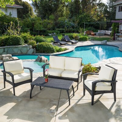 Bickford 4 Piece Deep Seating Group with Cushion Fabric: Cream