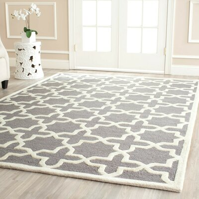 Cherry Hill Hand-Tufted Gray/Ivory Area Rug Rug Size: Rectangle 6 x 9