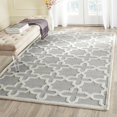 Cherry Hill Hand-Tufted Silver/Ivory Area Rug Rug Size: Square 6
