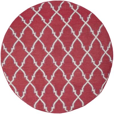 Danbury Hand-Woven Wool Red/Ivory Area Rug Rug Size: Round 6