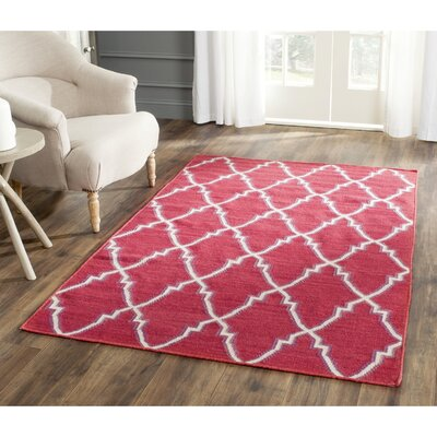 Danbury Hand-Woven Wool Red/Ivory Area Rug Rug Size: Square 6