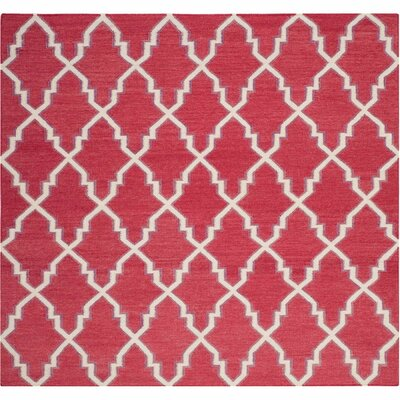 Danbury Hand-Woven Red / Ivory Area Rug Rug Size: Square 6
