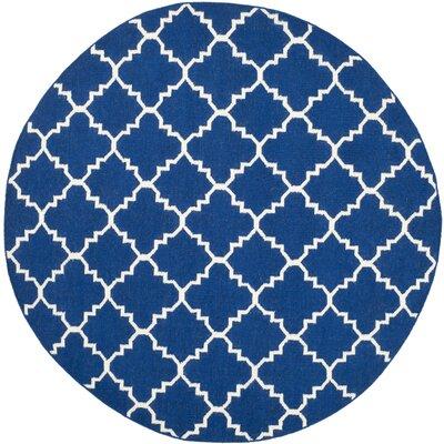 Danbury Dark Blue/Ivory Area Rug Rug Size: Round 4